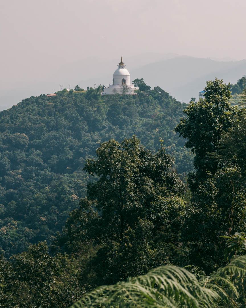 The World Peace Pagoda in Pokhara, Nepal