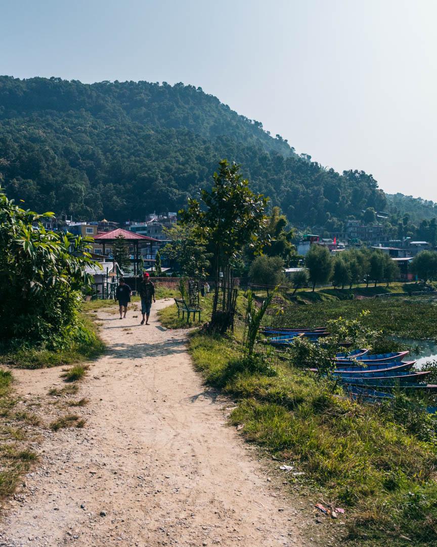 Walking path next to Phewa Lake in Pokhara, Nepal