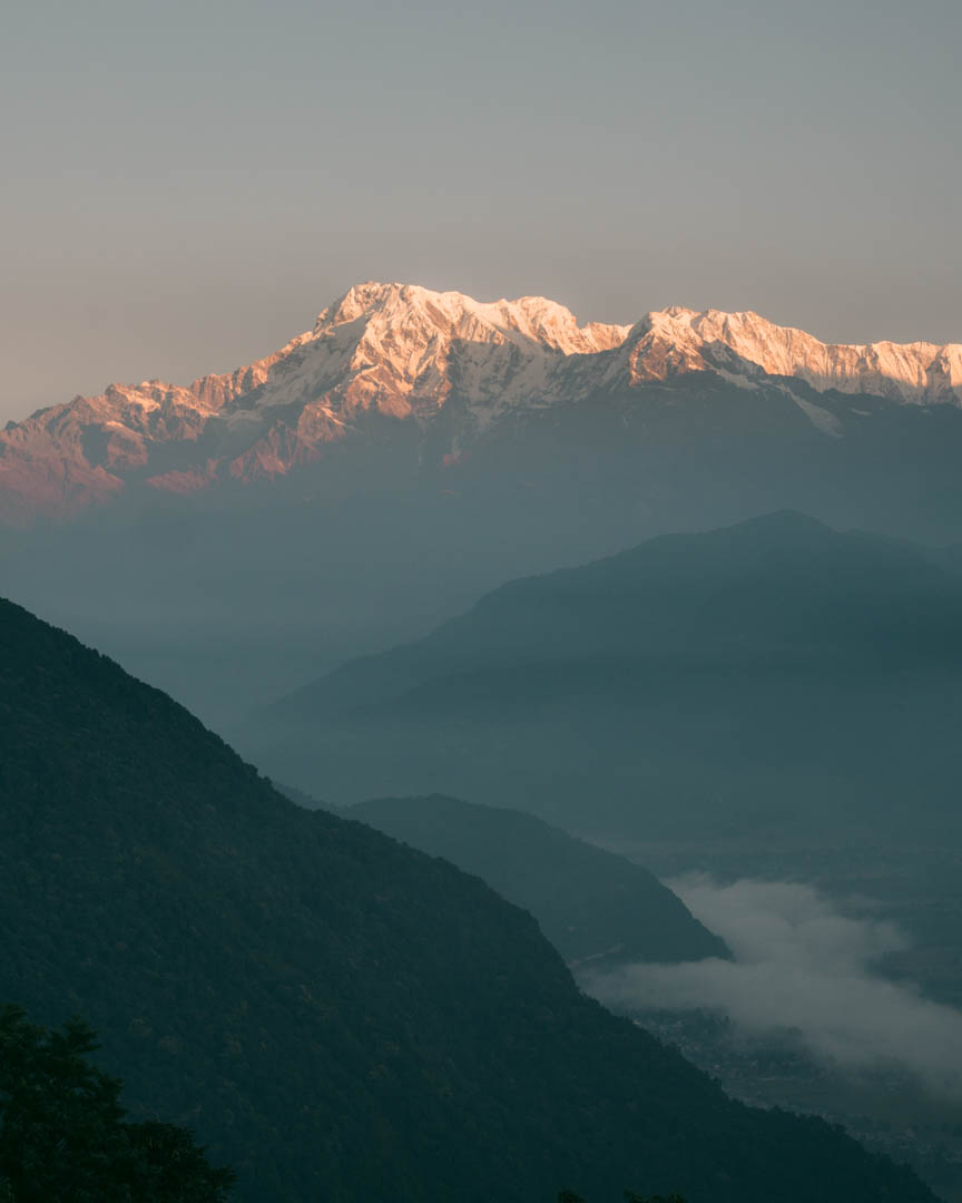 Sunrise on mountains in Nepal