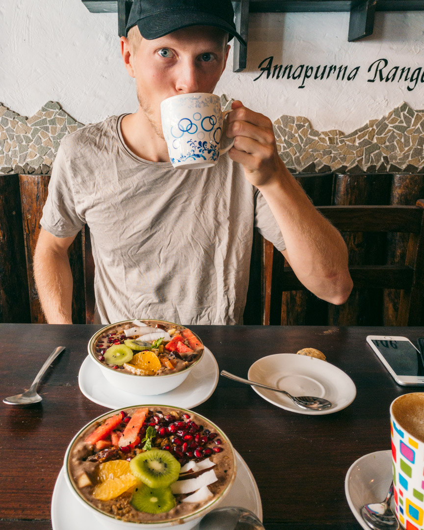 Smoothie bowls and coffee at am/pm organic cafe in Pokhara