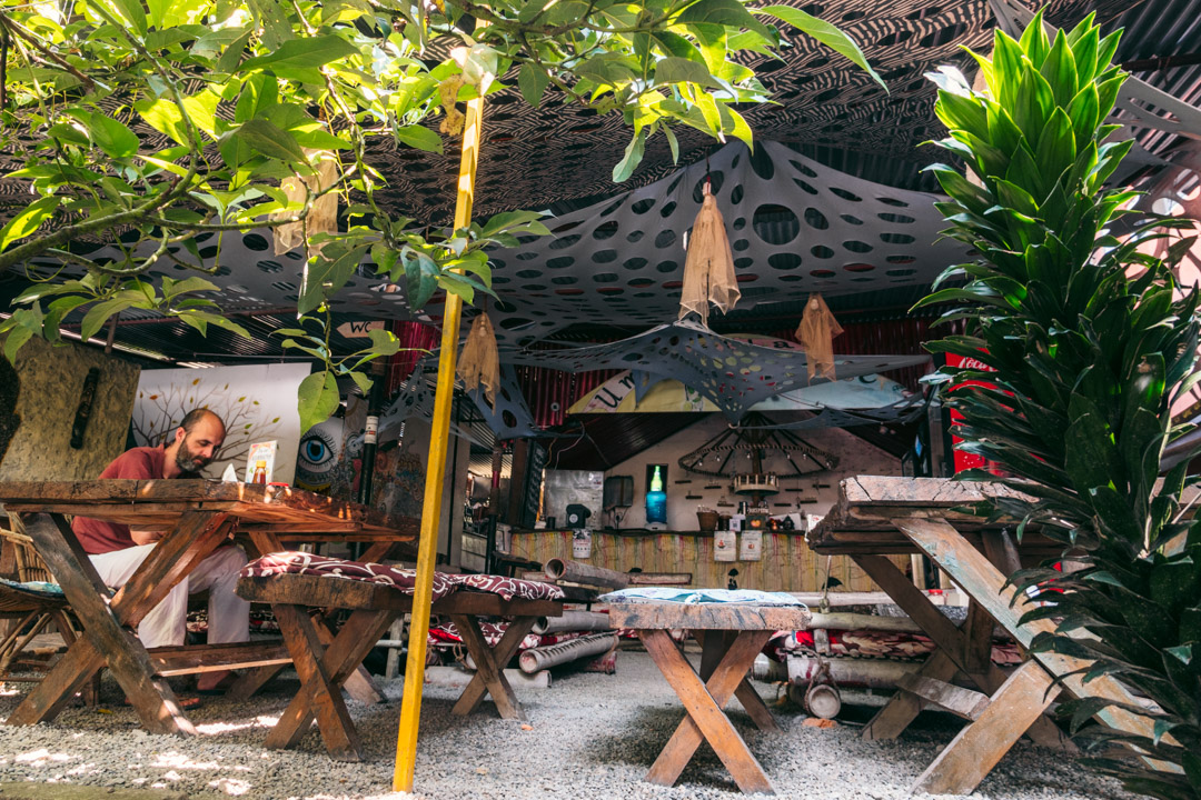 The green outside space of Umbrella Cafe in Pokhara