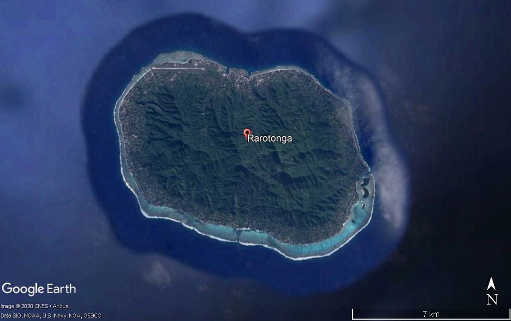 Rarotonga on Google Earth