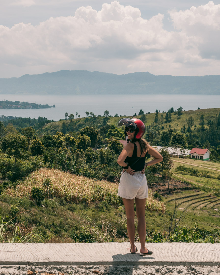Victoria checks out the views to Lake Toba