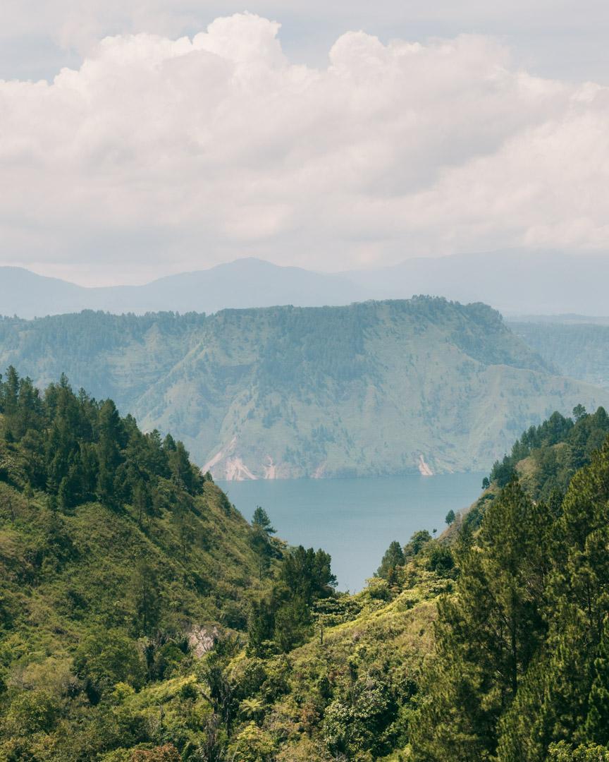 Samosir Island view to Lake Toba and beyond