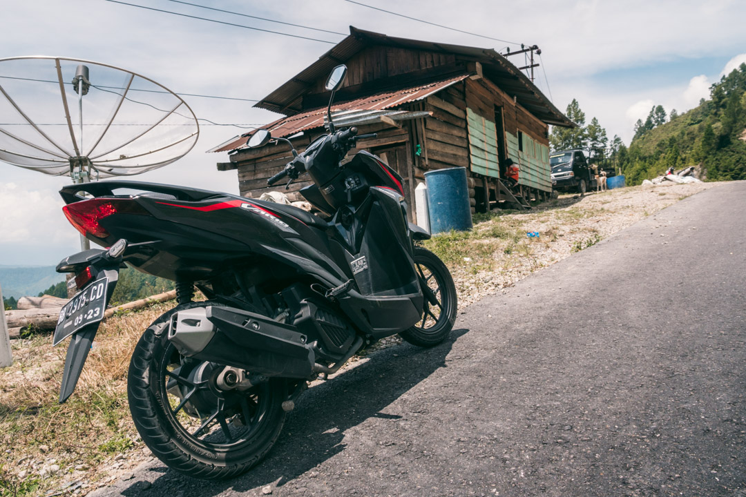Our rental scooter on Samosir