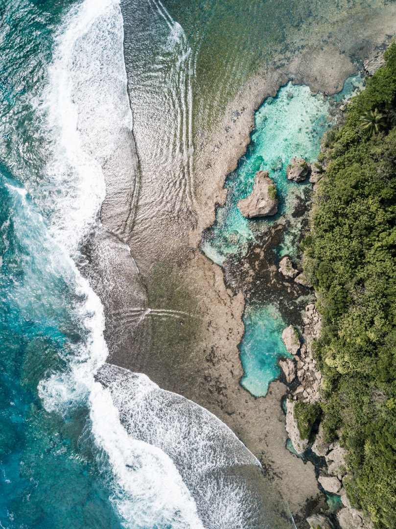 Magpupungko pools seen from a drone