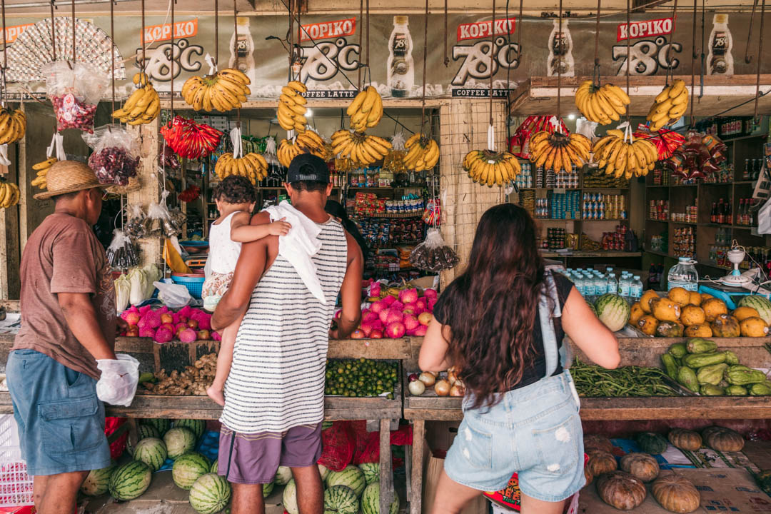 fresh fruit and vegetables in the small market stalls