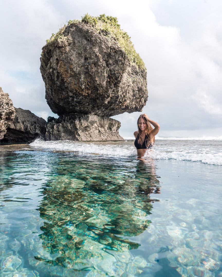 Magpupungko famous rock and tide