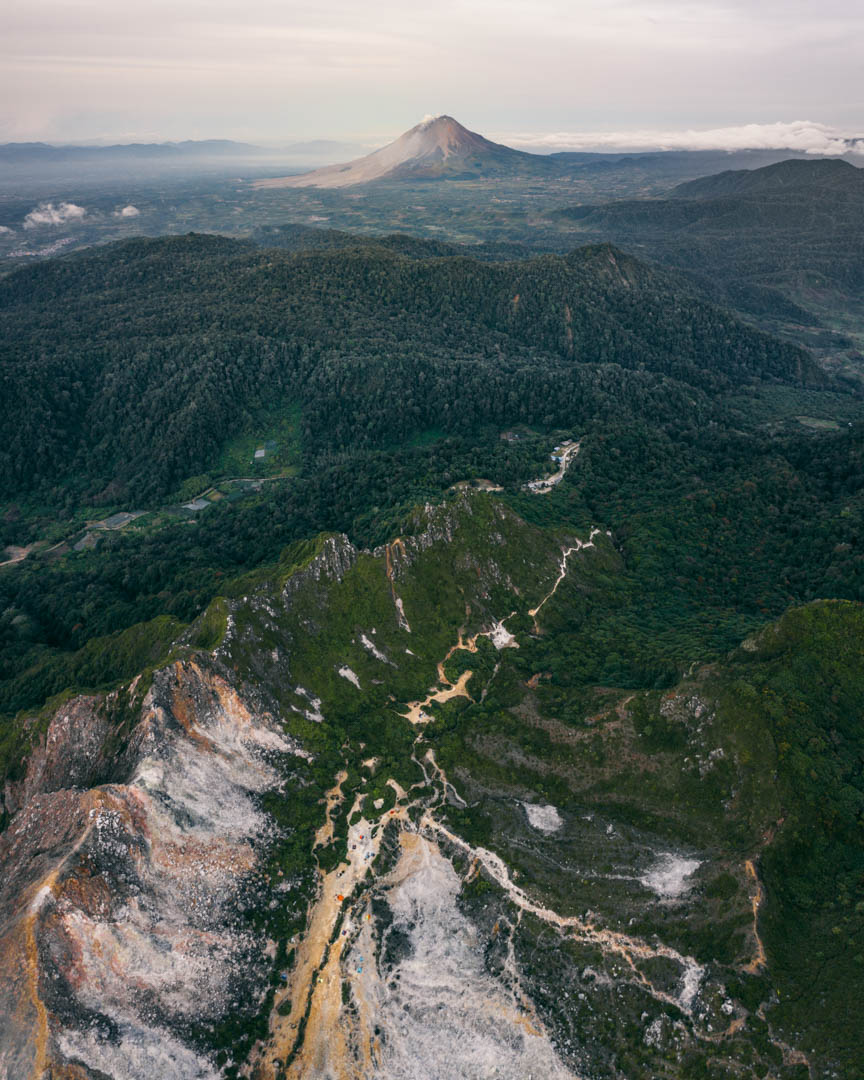 Sibayak drone with Sinabung in background