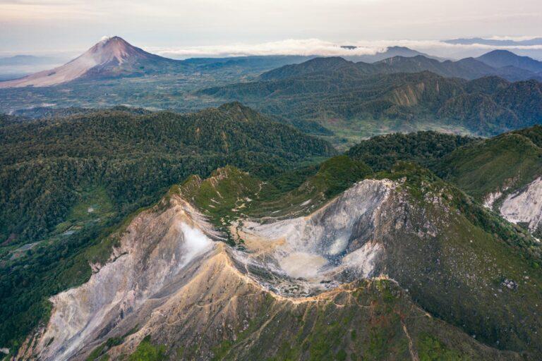 Sibayak Volcano drone shot