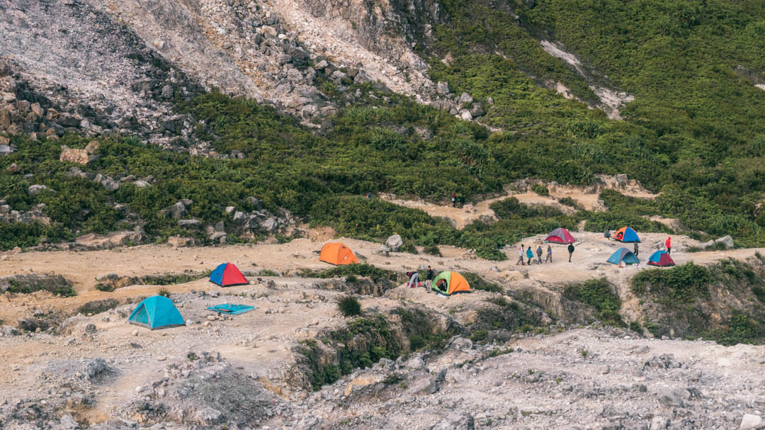 Locals camping on Sibayak