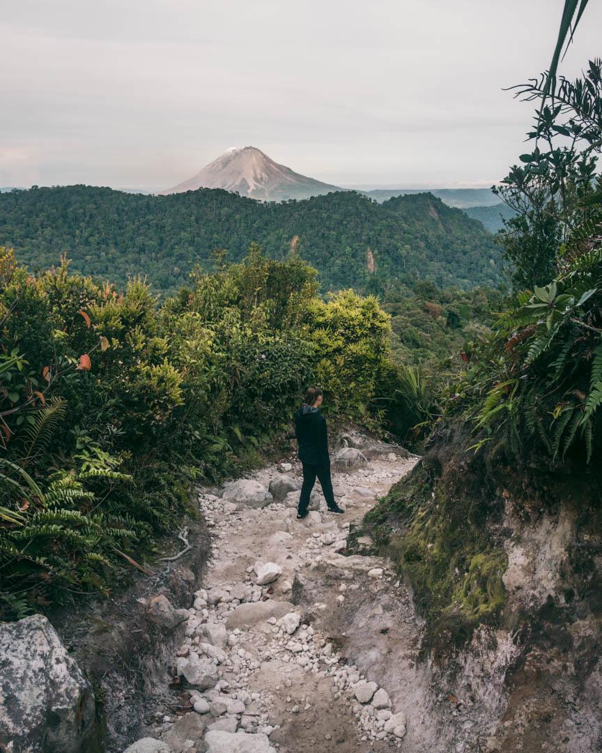 Victoria trekking back down Sibayak
