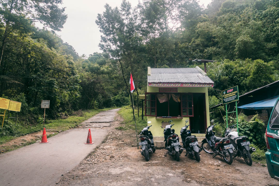 Trek trail head up the volcano