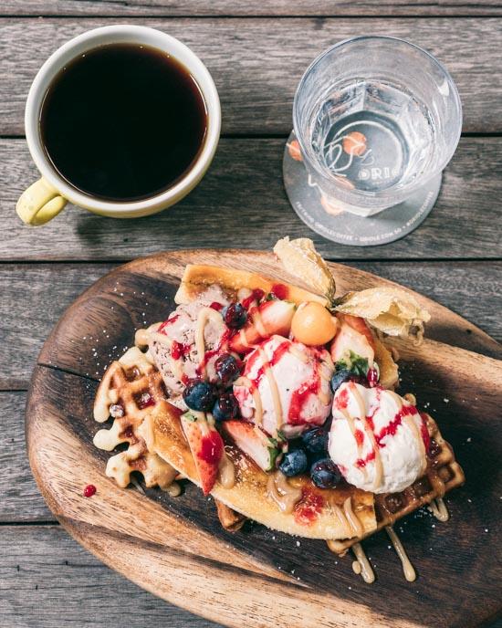 Waffle and coffee