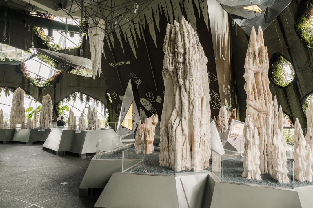 Stalactite and stalagmite exhibition inside Cloud Mountain