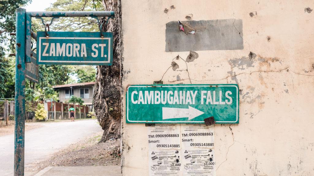 Sign with Cambugahay Falls
