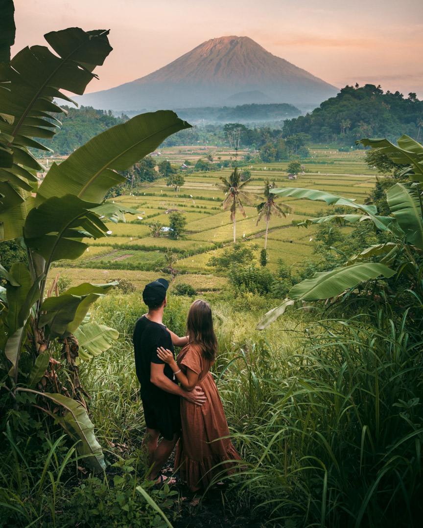 Alex and Victoria looking at volcano in Bali