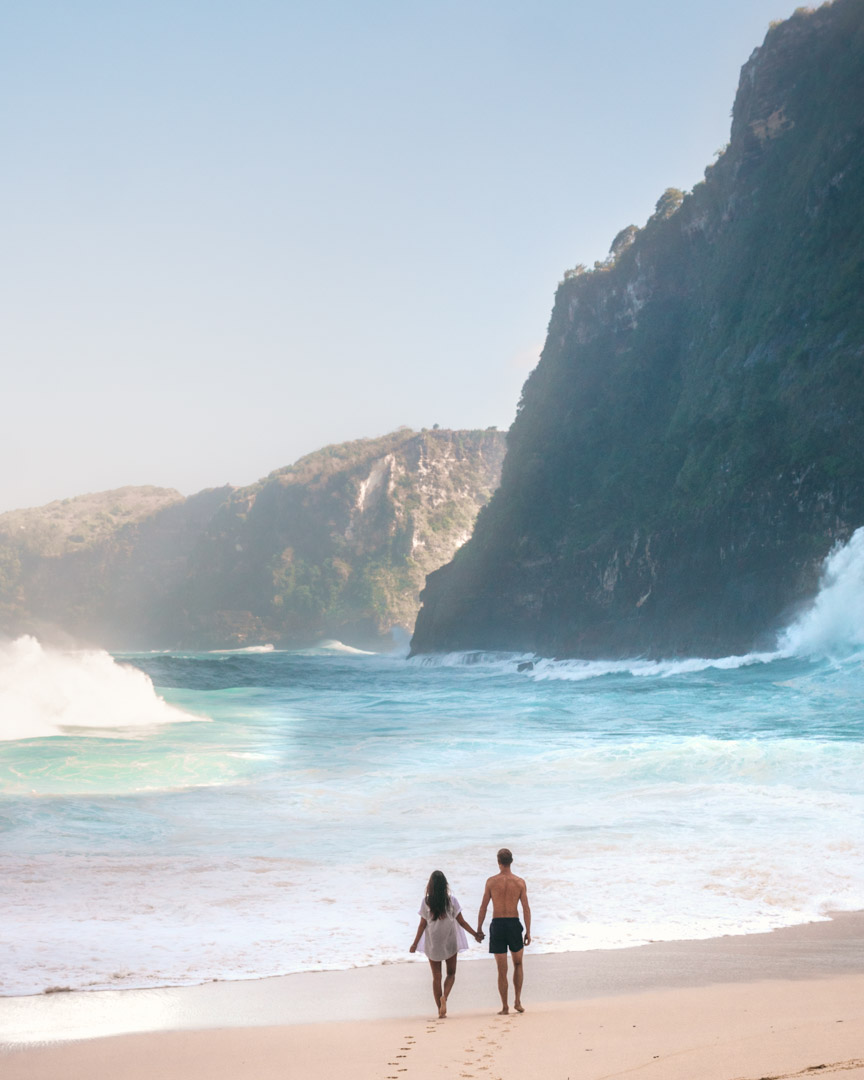 Alex and Victoria at Kelingking Beach, Indonesia