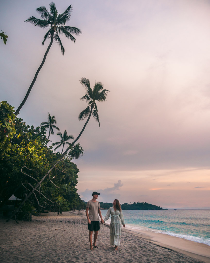 Alex and Victoria at a beach in Lombok
