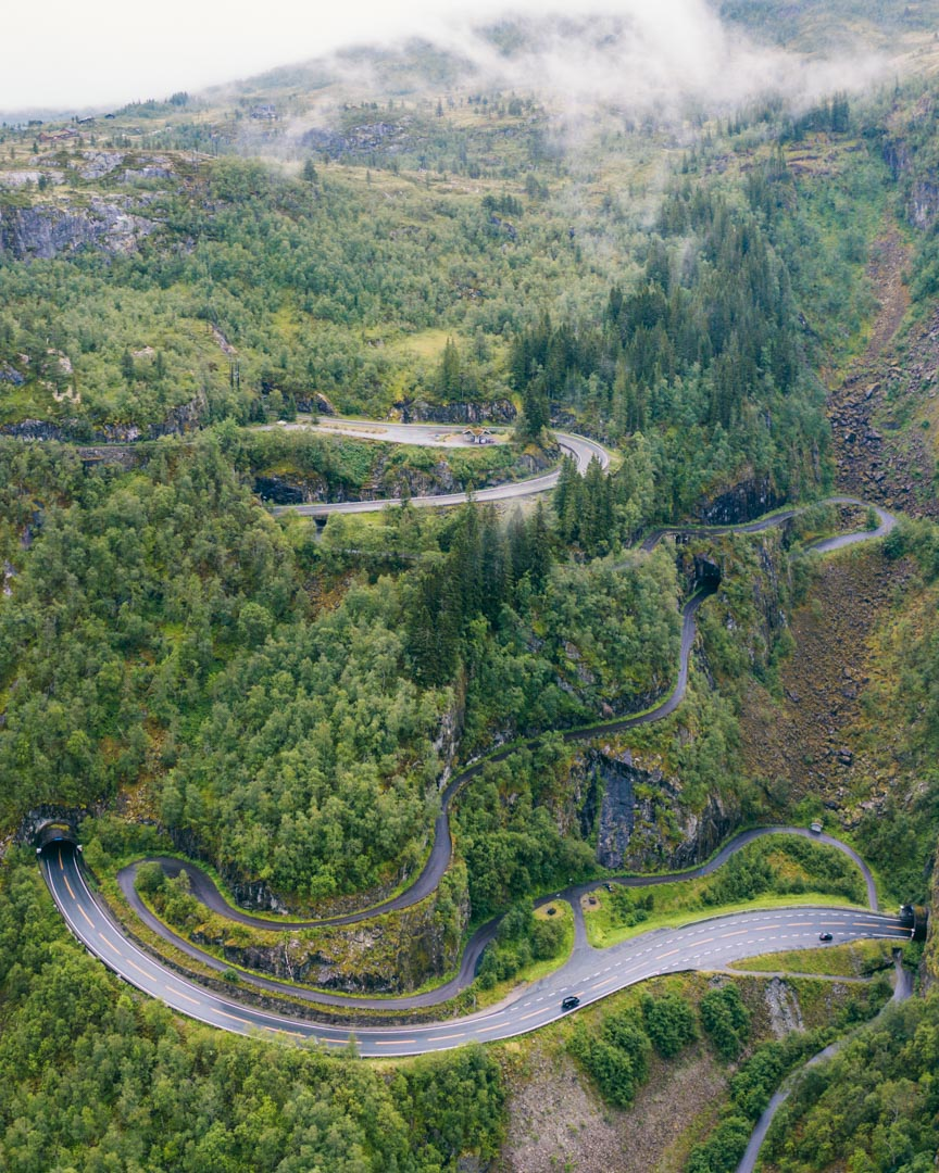 The crazy road from Vøringsfossen to Eidfjord.
