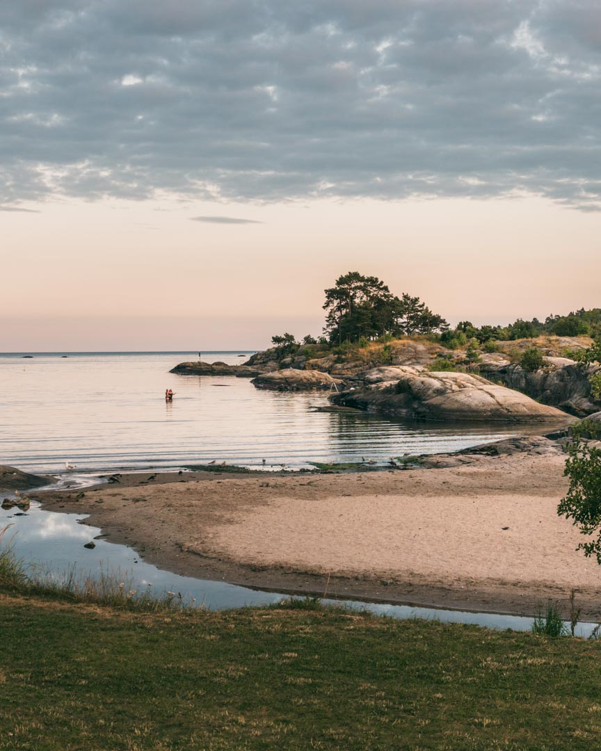 The beach at Rognstranda during sunset