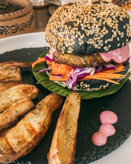 Charcoal falafel burger