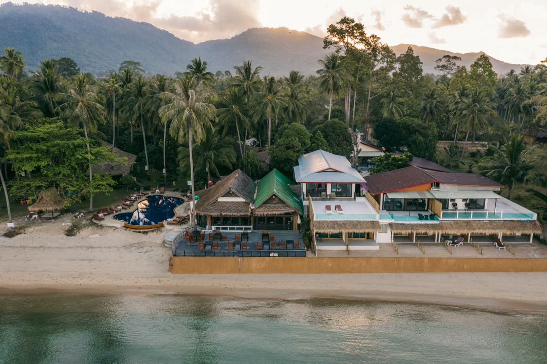 Lipa Lodge Beach Resort as seen from our drone
