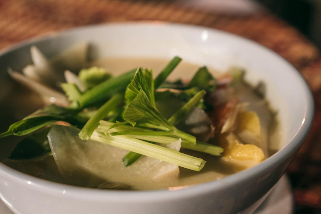 Hearty thai soup with lots of greens