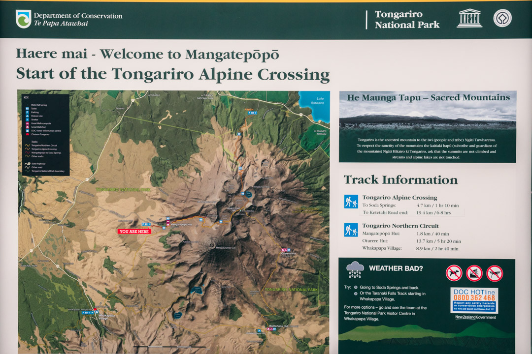 Map at the start of the Tongariro hike
