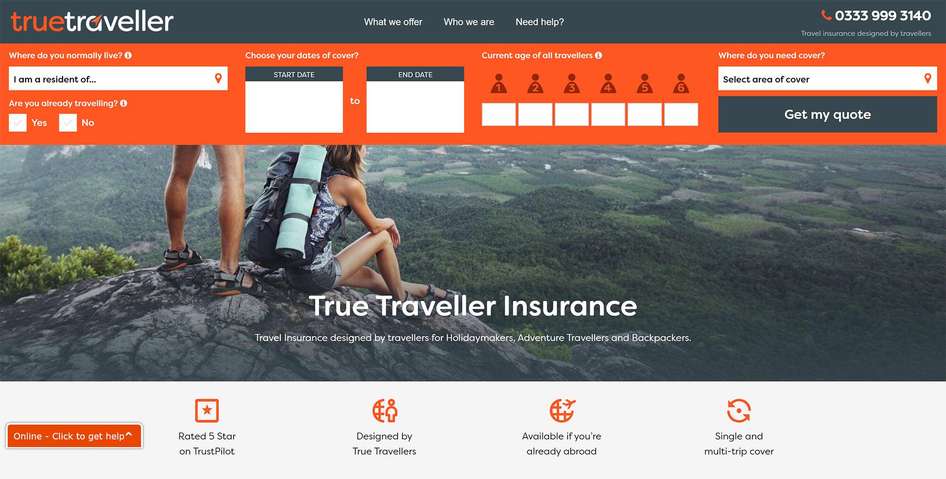 True Traveller sign-up