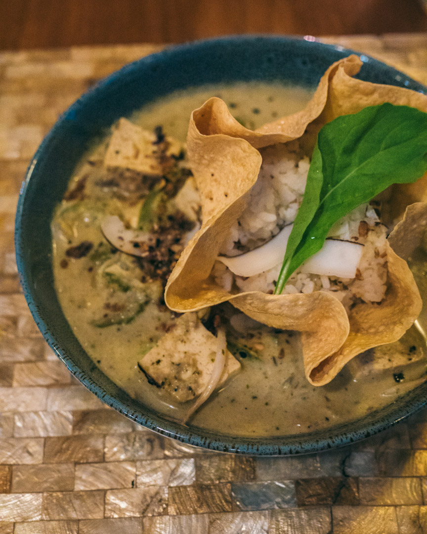 Green Thai Curry with rice and tofu