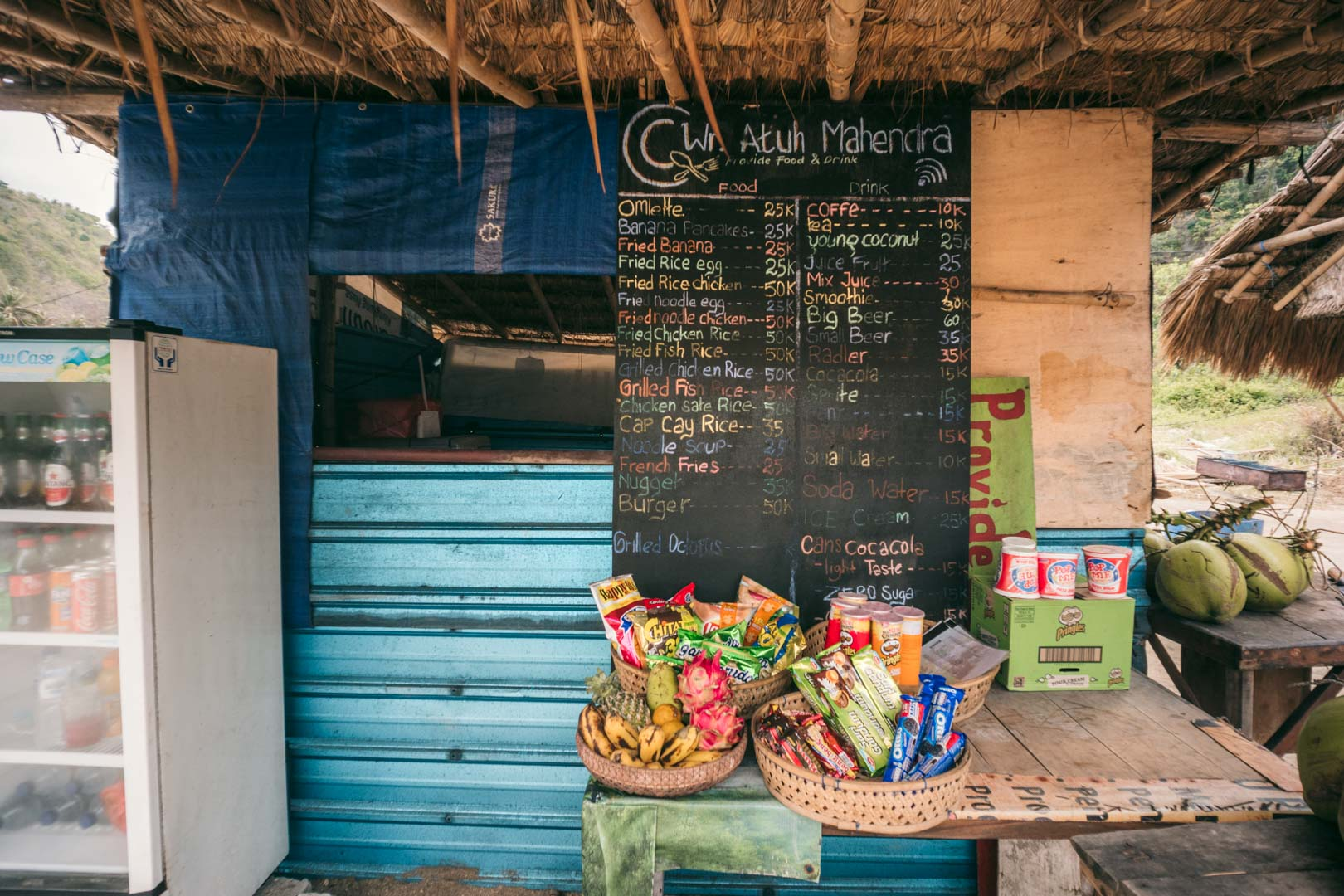 One of the small food stalls on Atuh Beach, Nusa Penida.