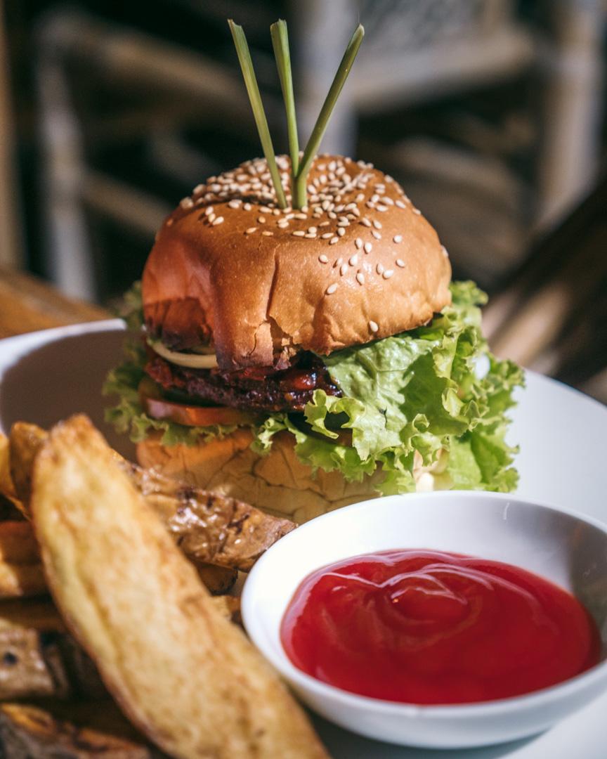 Huge fries and vegan burger