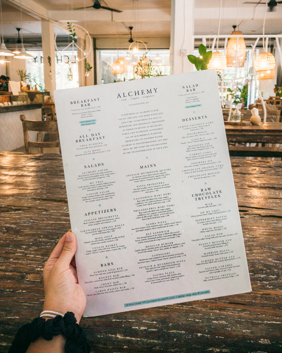 Alchemy's menu is full of healthy, raw vegan options