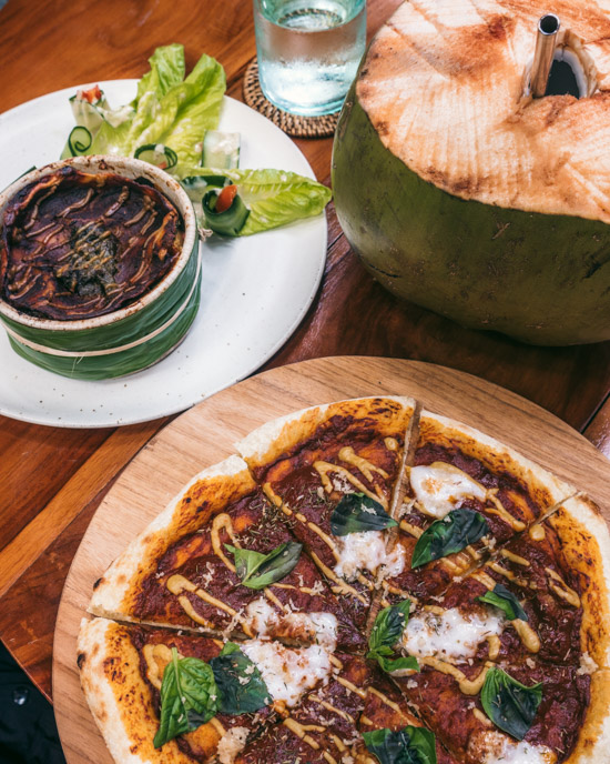 Pizza, lasagna ...and a fresh young coconut