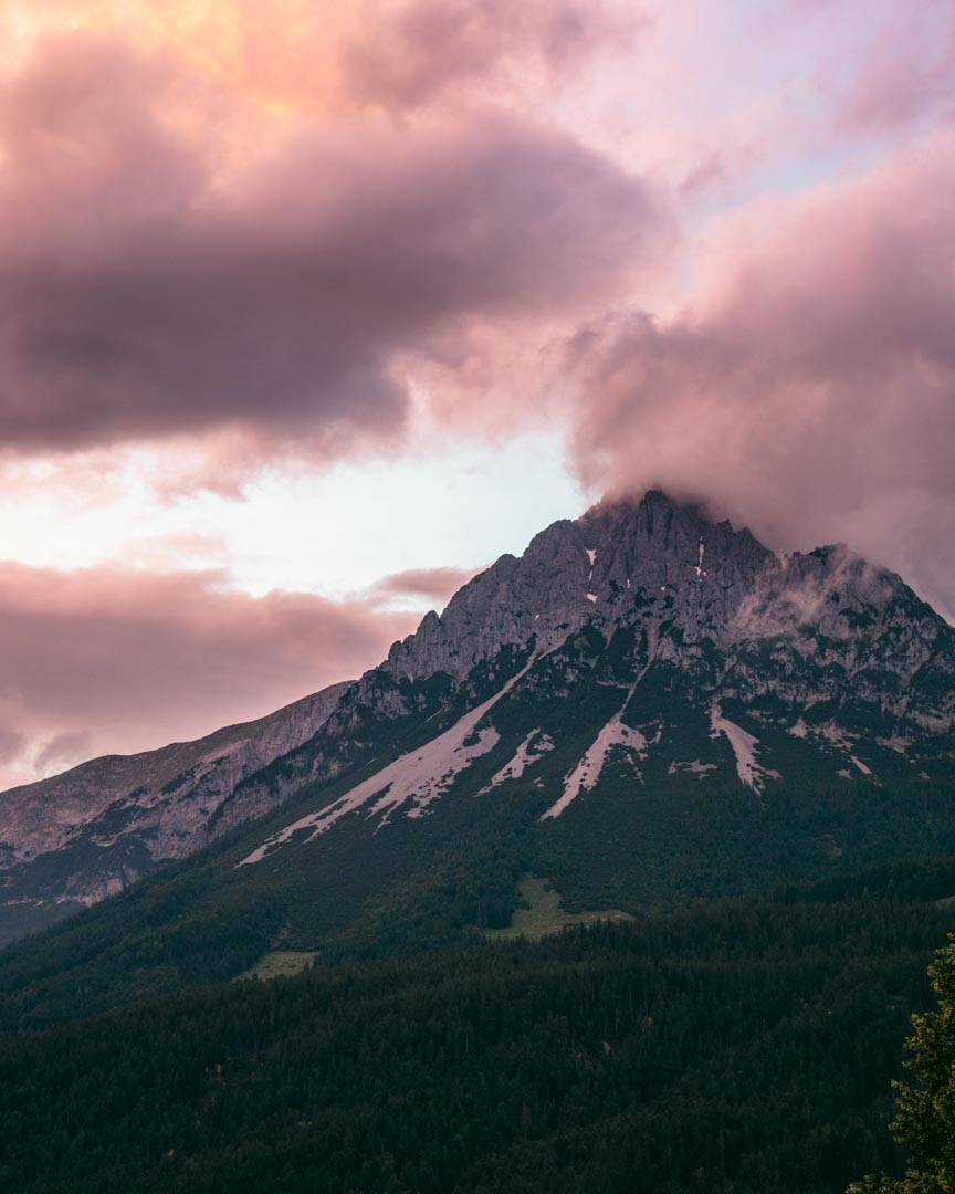 Sunset colours on the mountain