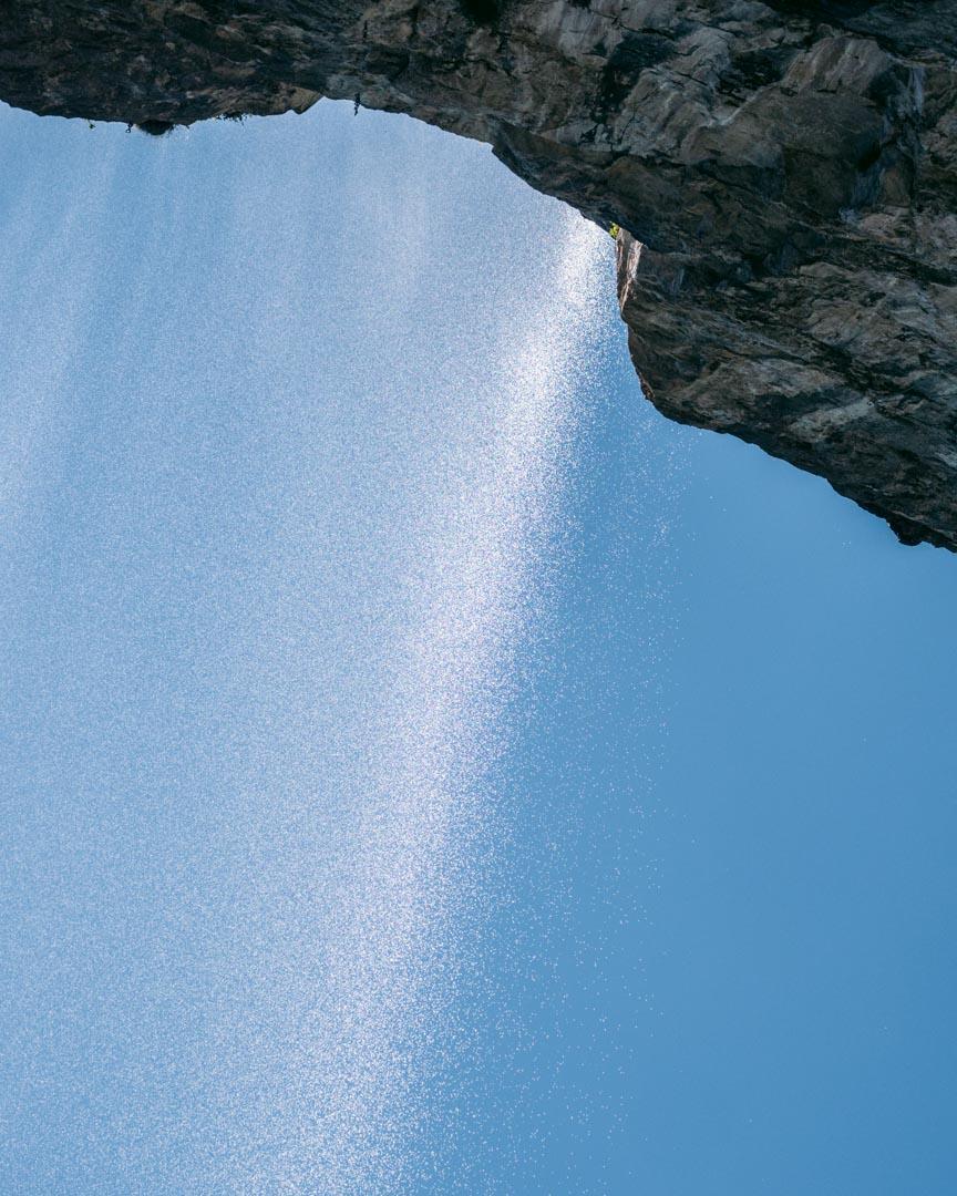 Fine mist from waterfall
